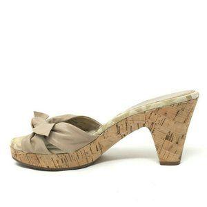 Coach Cute Wood Pumps Heels SZ: 7/8 Open Toe